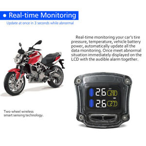 Motorcycle Bike Car Tpms Tire Tyre Pressure Monitoring System 2 Tyre Sensors
