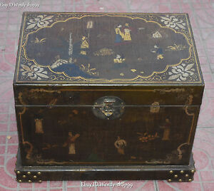 18 Chinese Wood Lacquerware Palace Belle Man Treasure Storage Box Chest Case