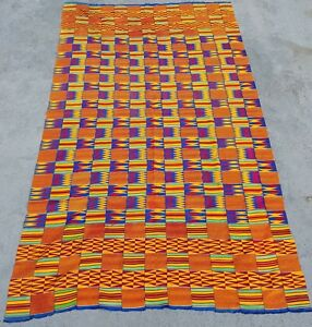 Kente Cloth Ashanti Tribe Ghana Vintage Textile In Traditional Classic Style