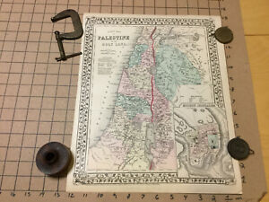 Vintage Hand Colored Map 1877 Two Sided W Palestine Hindoostan India Tibet