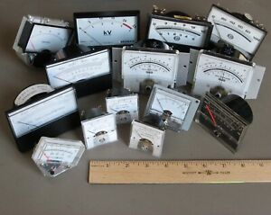 14 Vtg Analog Meters From Electronic Lab Equipment steampunk Mad Scientist L 2