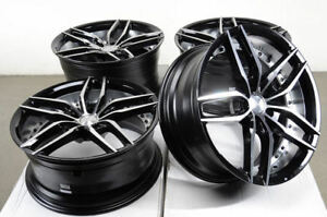 19x8 5 19x9 5 5x114 3 Staggered Black Wheels Fits Mustang Is250 G37 5 Lug Rims