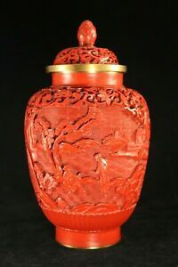 Lg Chinese Carved Cinnabar Lacquer 7 Covered Jar W Scholars Gardens Houses