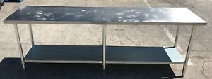 96 Inch Stainless Steel Work Table With Bottom Shelf