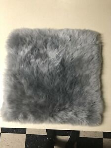 Imqoq Fur Sheepskin Chair Seat Pad Rug Car Seat Cover Cushion W Straps Gray New