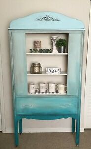 Vintage China Cabinet Hutch Shades Of Blue