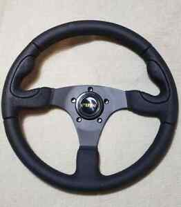 Pilot Universal 3 Spoke Steering Wheel 13 75 Ford Chevy Dodge Hot Rat Rod Black