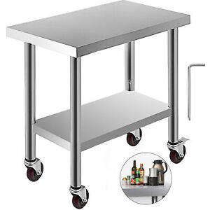 30 x18 Kitchen Work Table With Wheels Stainless Steel Adjustable Undershelf