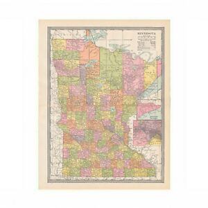 Antique Color Map Of Minnesota From Disbound 1906 Encyclopedia