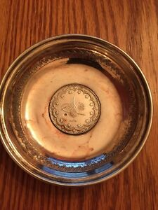 Turkey Silver Coin Dish With Mehmed V Reshad Coin Ottoman Empire Early 1900 S
