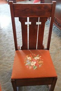 Vintage Mission Arts Crafts Oak Sewing Rocker