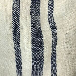 Vintage Grain Sack Blue Hemp Linen Fabric Striped Bag Nubby Twill Weave