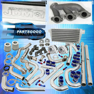 94 97 Mustang V6 3 8 Turbo Kit Blue Chrome Intercooler Downpipe Piping Wastegate