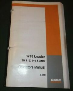 Case W18 Articulated Loader Operation Maintenance Manual S n 9123140 up