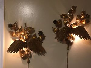 Sale 2 Vtg Tole Italy Mid Century Metal Candelabras Lights Roses Huge Birds 245