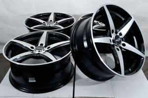 17x7 5 5x114 3 5x100 Black Wheels Fits Honda Civic Accord Crz Element 5 Lug Rims