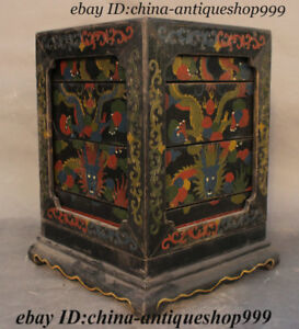Antique Old Chinese Wood Lacquerware Dragon Storage Jewelry Box Chest Bin Statue