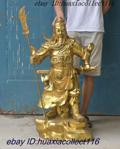 Ancient Chinese Dynasty Palace Brass Dragon Robe Warrior Guan Gongyu Statue Seat