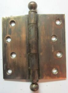 1 Antique Stanley 239 Sw 4 Square Hinge Ball Tips Brass Plated Mortise Door