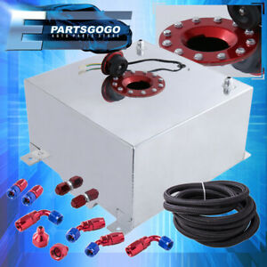 Aluminum 13 Gallon Fuel Cell Tank W Red Cap Braided Nylon Oil Feed Line 10an