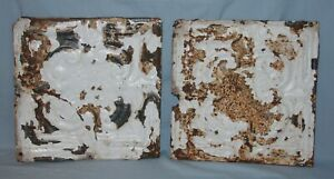 Pair Vintage 12 X 12 Embossed Tin Ceiling Tiles Chippy Paint 1