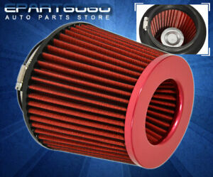 Red 3 Inlet Short Ram Cold Intake Round Tapered Cone Air Filter Jdm Acura Honda