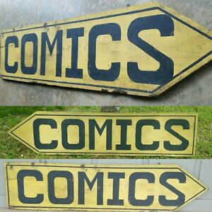 1930s Folk Art Double Sided Comics Sign