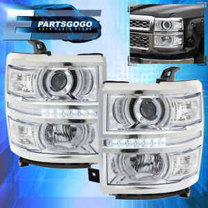 2014 2015 Chevy Silverado 1500 Chrome Housing Clear Projector Led Drl Headlights