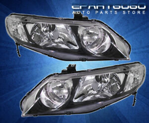 2006 2008 Honda Civic Fa1 Fa5 Black Corner Headlight Clear Fog Lamp Assembly