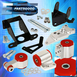 For 06 11 Civic Si Manual Trans Billet Aluminum Engine Motor Mount Silver Red