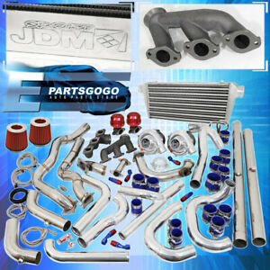 94 97 Mustang V6 3 8 Turbo Kit Blue Red Intercooler Downpipe Piping Wastegate