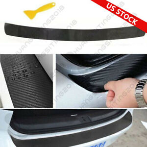 Universal 4d Carbon Fiber Car Rear Bumper Trunk Tail Lip Protect Decal Sticker Q