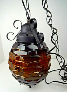 Vintage Glass Swag Lamp 152 Chain Cord Works Retro 70 S Mid Century Modern Gold