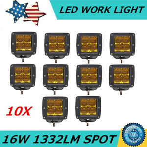 5d 10x 3inch 16w Square Led Work Light Yellow Spot Cube Pods Offroad Fog Bumpe