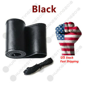 14 5 15 Black Motor Genuine Leather Steering Wheel Cover For Car Suv Truck W01