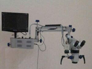 Wall Mount 3 Step Dental Microscope With Camera Monitor