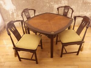 Drexel Heritage Ming Style Dining Set Chin Hua Table Four Chairs Chinoiserie