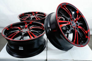17x7 5x100 5x114 3 Red Wheels Fits Civic Mitsubishi Eclipse Lancer 5 Lug Rims