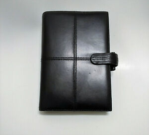 Filofax Personal Cross Planner Binder Black Italian Leather Includes Stationery
