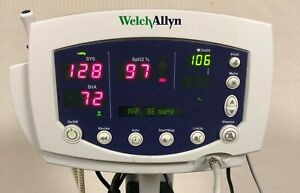 Welch Allyn 53ntp 300 Series Patient Monitor W Leads Rolling Stand