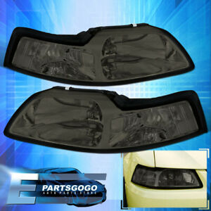 1999 2004 Ford Mustang Gt Euro Smoked Lens Headlights Lamps Set Pair