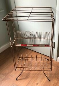 Vintage Mid Century Modern Brass Gold Color Record Magazine Phone Rack Stand