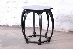 Baker Furniture Ebonized Hollywood Regency Chinoiserie Occasional Table