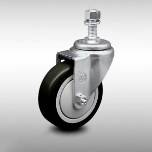 Ss Poly Swvl Threaded Stem Caster W 4 Blk Wheel And 1 2 Stem 300 Lbs caster