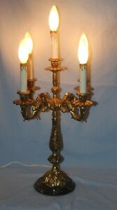 Vintage 5 Light 4 Arm Brass Candelabra Light Lamp Chandelier Marble Base