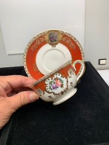 Vintage M K Hand Painted Tea Cup And Saucer Lt611