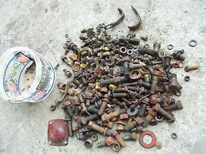 Massey Harris 22 Tractor Mh Box Misc Bolts Nuts Parts Pieces Bolts Cover Caps
