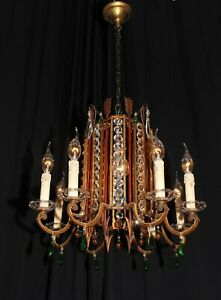 Antique French Iron Arrow Basket Gilded Chandelier Crystals France