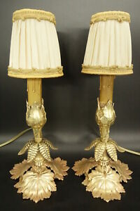 Pair Of Lamps Period Art Nouveau Bronze French Antique
