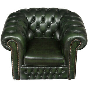 Vintage Antique Style Tufted Green Leather Club Arm Chair Chesterfield Buttoned